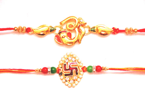 Combo rakhi pack of Ganesha with shankh and Swastik in pearl , Zevotion Rakhis - Zevotion, OnlinePrasad.com