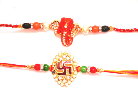 Combo rakhi pack of Ganesha in Orange and Swastik in Pearl , Zevotion Rakhis - Zevotion, OnlinePrasad.com