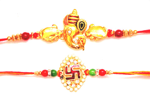 Combo rakhi pack of Ganesha with mouse and Swastik in pearl , Zevotion Rakhis - Zevotion, OnlinePrasad.com