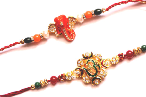 Combo rakhi pack of orange Ganesha and studded Om - OnlinePrasad.com