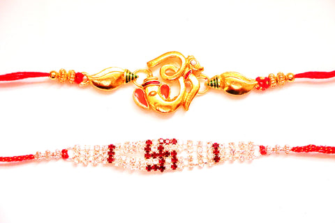 Combo rakhi pack of Ganesha in gold and Swastik with white crystals , Zevotion Rakhis - Zevotion, OnlinePrasad.com