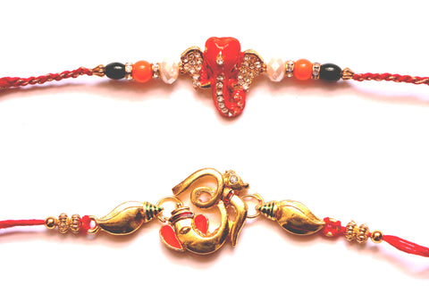 Combo rakhi pack of orange Ganesha and golden Om - OnlinePrasad.com