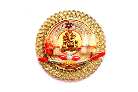 Ganesha Rakhi Thali Set with Beads and Stones - OnlinePrasad.com