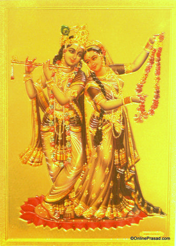 The Radha Krishna With Garland Golden Poster - OnlinePrasad.com