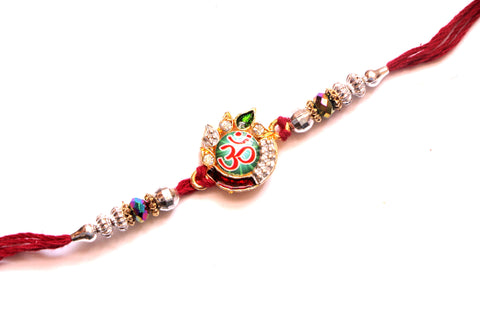 Om Rakhi with Silver Beads and Stones - OnlinePrasad.com
