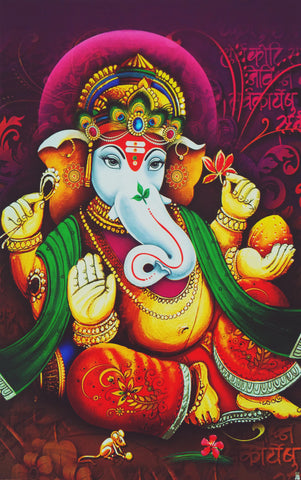 Poster Of Shri Ganesha In Orange , Poster - J.B. Khanna, OnlinePrasad.com