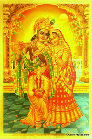 The Radha Krishna Evening Romance Golden Poster - OnlinePrasad.com