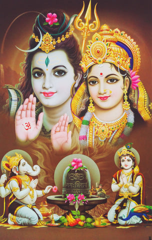 Poster Of Shiva Parvathi In White Along With Ganesha And Karthik , Poster - J.B. Khanna, OnlinePrasad.com