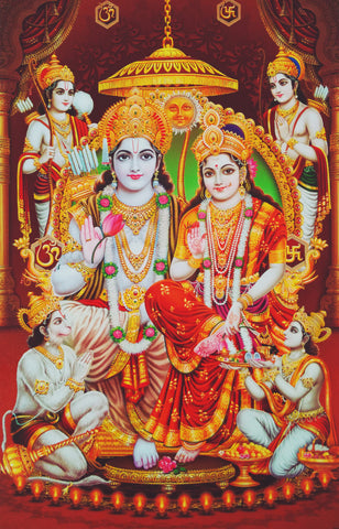 Poster Of Rama Sita In White Along With Ram Darbar , Poster - J.B. Khanna, OnlinePrasad.com