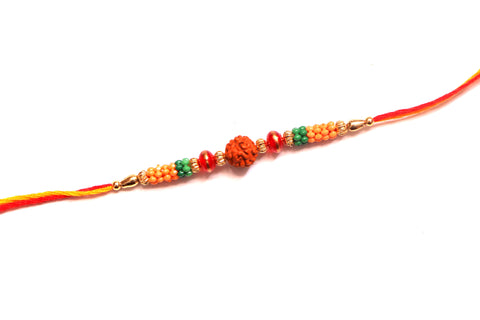 Rudraksha Rakhi with colorful beads - OnlinePrasad.com