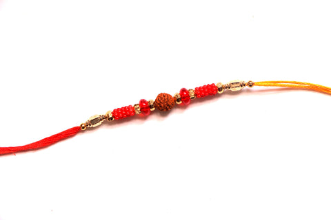 Rudraksha Rakhi with gold beads - OnlinePrasad.com