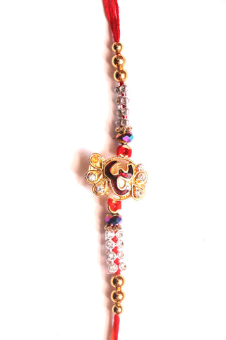 Om Rakhi with Beads and Stones - OnlinePrasad.com