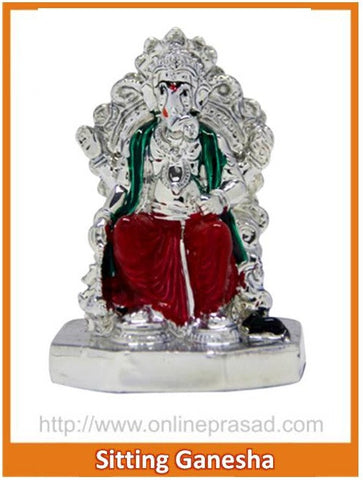 The Colorful Sitting Ganesha Idol - OnlinePrasad.com