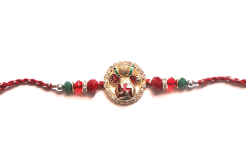 Swastik Rakhi with kalash in studded design , Zevotion Rakhis - Zevotion, OnlinePrasad.com