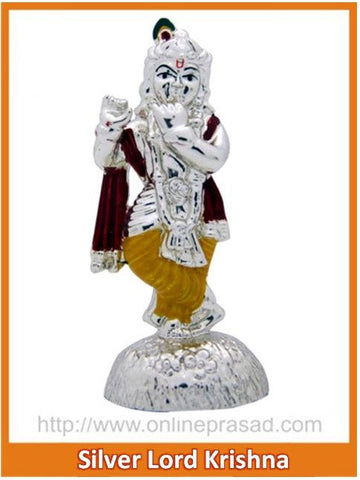 The Silver Lord Krishna Idol , Zevotion - Sai Shagun, OnlinePrasad.com