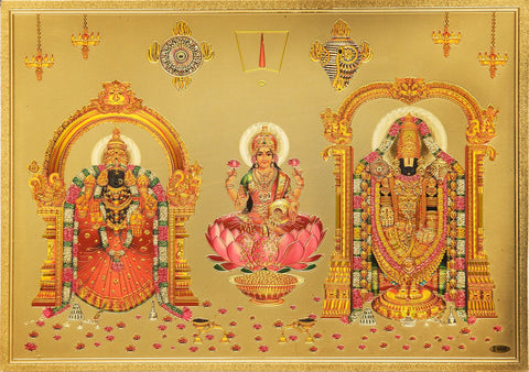 The Balaji Padamavathi with kuber Laxmi Golden Poster - OnlinePrasad.com