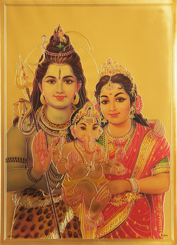 The Shiva Parvati and Ganesha Golden Poster - OnlinePrasad.com