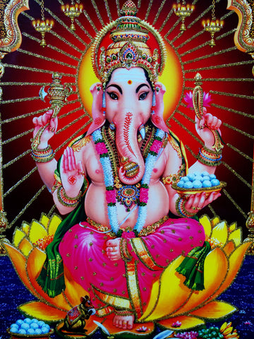 Poster Of Ganesha In Pink With Gold Detailing - OnlinePrasad.com