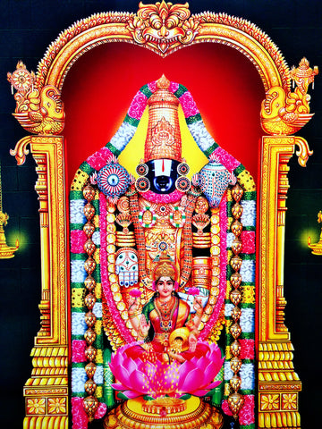 Poster Of Sri Venkateshwara In Golden Along With Lakshmi , Poster - J.B. Khanna, OnlinePrasad.com