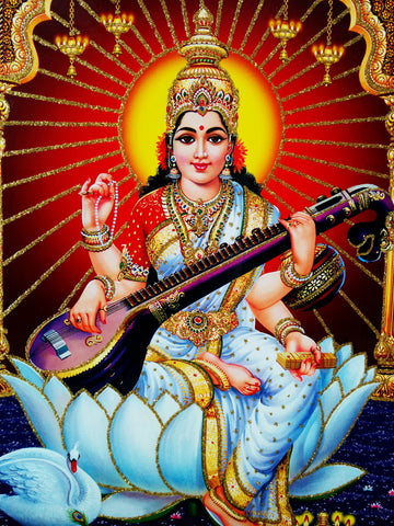 Poster Of Saraswati In White With Gold Detailing - OnlinePrasad.com