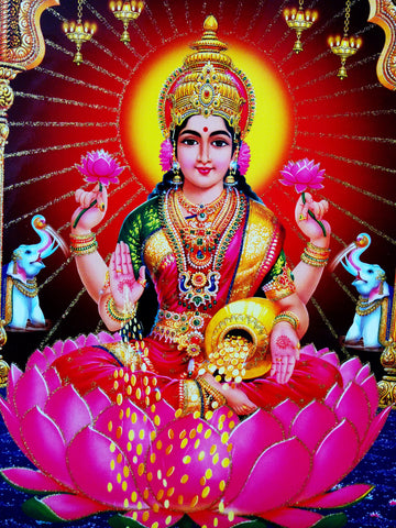 Poster Of Laxmi In Pink With Gold Detailing , Poster - J.B. Khanna, OnlinePrasad.com