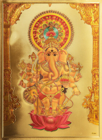 The Kan Drush Ganesha Golden Poster - OnlinePrasad.com