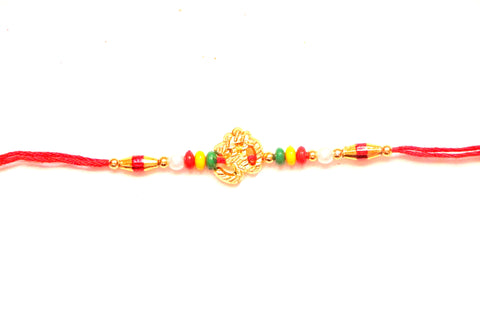 Om Rakhi in gold with beads , Zevotion Rakhis - Zevotion, OnlinePrasad.com