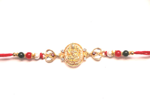 Ganesha Rakhi with Beads and Stones - OnlinePrasad.com