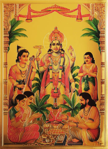 The Blessing Narayana Golden Poster , Poster - Zevotion, OnlinePrasad.com