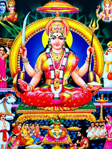 Poster Of Annapoorneshwari In Red Along With Ganesha And Shiva - OnlinePrasad.com