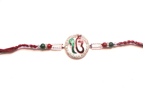 Ek Onkar Rakhi in red and green - OnlinePrasad.com