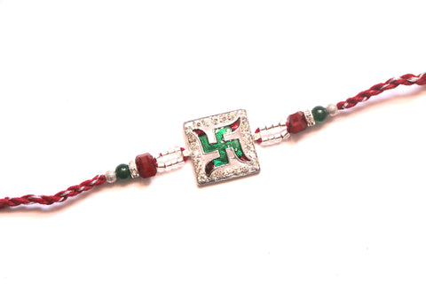 Green Swastik Rakhi with white stones , Zevotion Rakhis - Zevotion, OnlinePrasad.com
