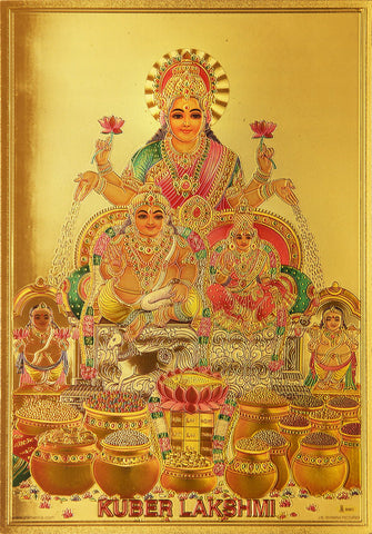The Kuber Laxmi Golden Poster - OnlinePrasad.com