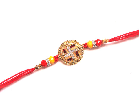 Swastik rakhi in red and white , Zevotion Rakhis - Zevotion, OnlinePrasad.com