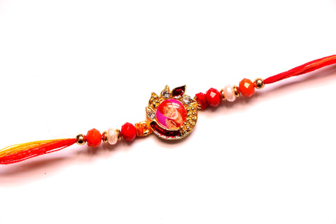 Sai Baba Rakhi with Crystal Beads and Stones - OnlinePrasad.com