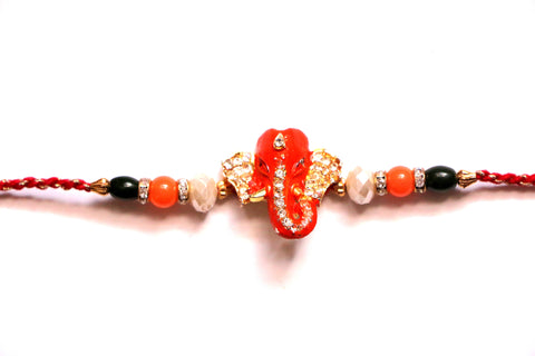 Ganesha rakhi with studded ears and trunk , Zevotion Rakhis - Zevotion, OnlinePrasad.com