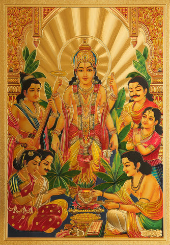 The Vishnu Golden Poster , poster - Zevotion, OnlinePrasad.com