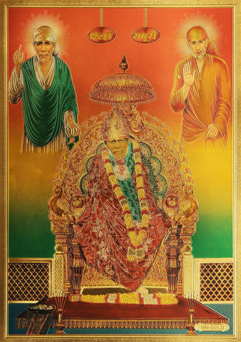 The Sai Baba Golden Poster - OnlinePrasad.com