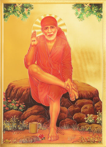 The Sai Baba with Red Clothes Golden Poster , Poster - Zevotion, OnlinePrasad.com