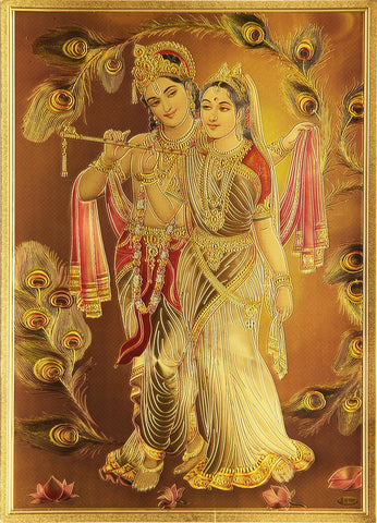 The Radhe Krishna with Basuri Golden Poster - OnlinePrasad.com