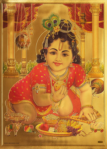 The Laddu Gopal Golden Poster - OnlinePrasad.com