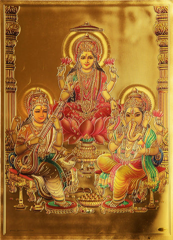 The Laxmi with Sarswati and Ganesha Golden Poster , Poster - Zevotion, OnlinePrasad.com
