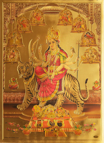 The  Nava Durga Golden Poster - OnlinePrasad.com