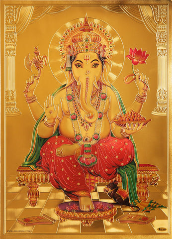 The Ganesha Mushika with Laddu Golden Poster - OnlinePrasad.com