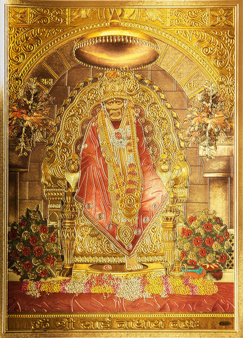 The Sai Baba with Ambari Golden Poster , poater - Zevotion, OnlinePrasad.com