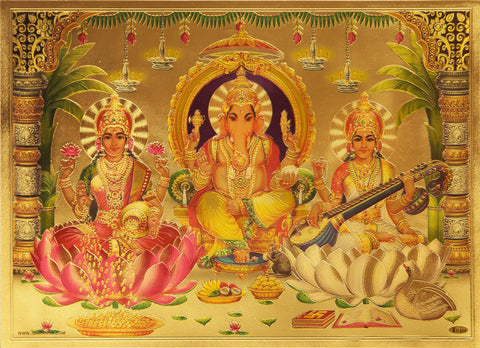 The Ganesha with Laxmi and Sarswati Golden Poster , Poster - Zevotion, OnlinePrasad.com