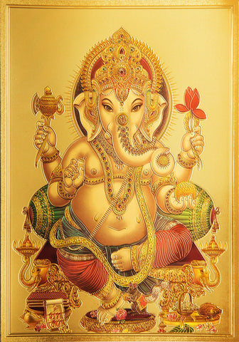The Ganesha with Red Flower Golden Poster - OnlinePrasad.com