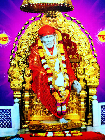 Poster Of Sai Baba In Red , Poster - J.B. Khanna, OnlinePrasad.com