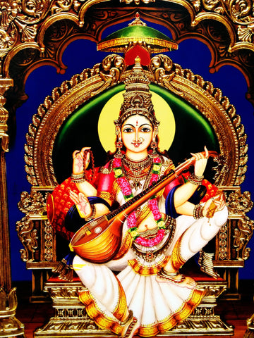Poster Of Saraswati In White - OnlinePrasad.com