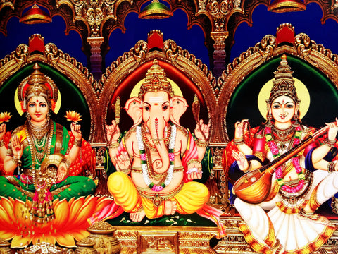 Poster Of Ganesha In Yellow Along With Laxmi And Saraswati - OnlinePrasad.com